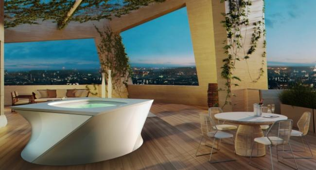 Jacuzzi® spa FLOW on ​​terrace
